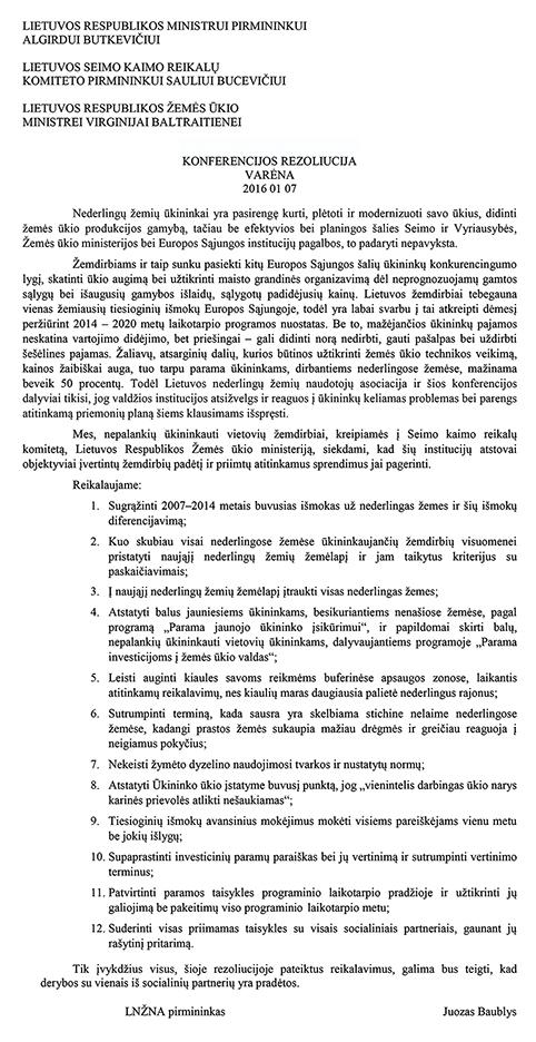 LNŽNA konferencijoje priimta rezoliucija