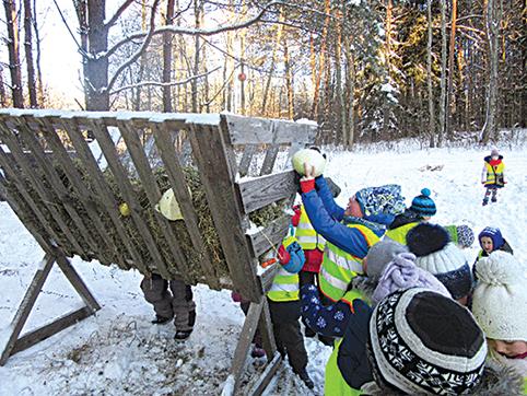 """Daug teigiamų emocijų priešmokyklinės """"Žemuogiukų"""" grupės ugdytiniai patyrė pusdienį praleidę miške"""
